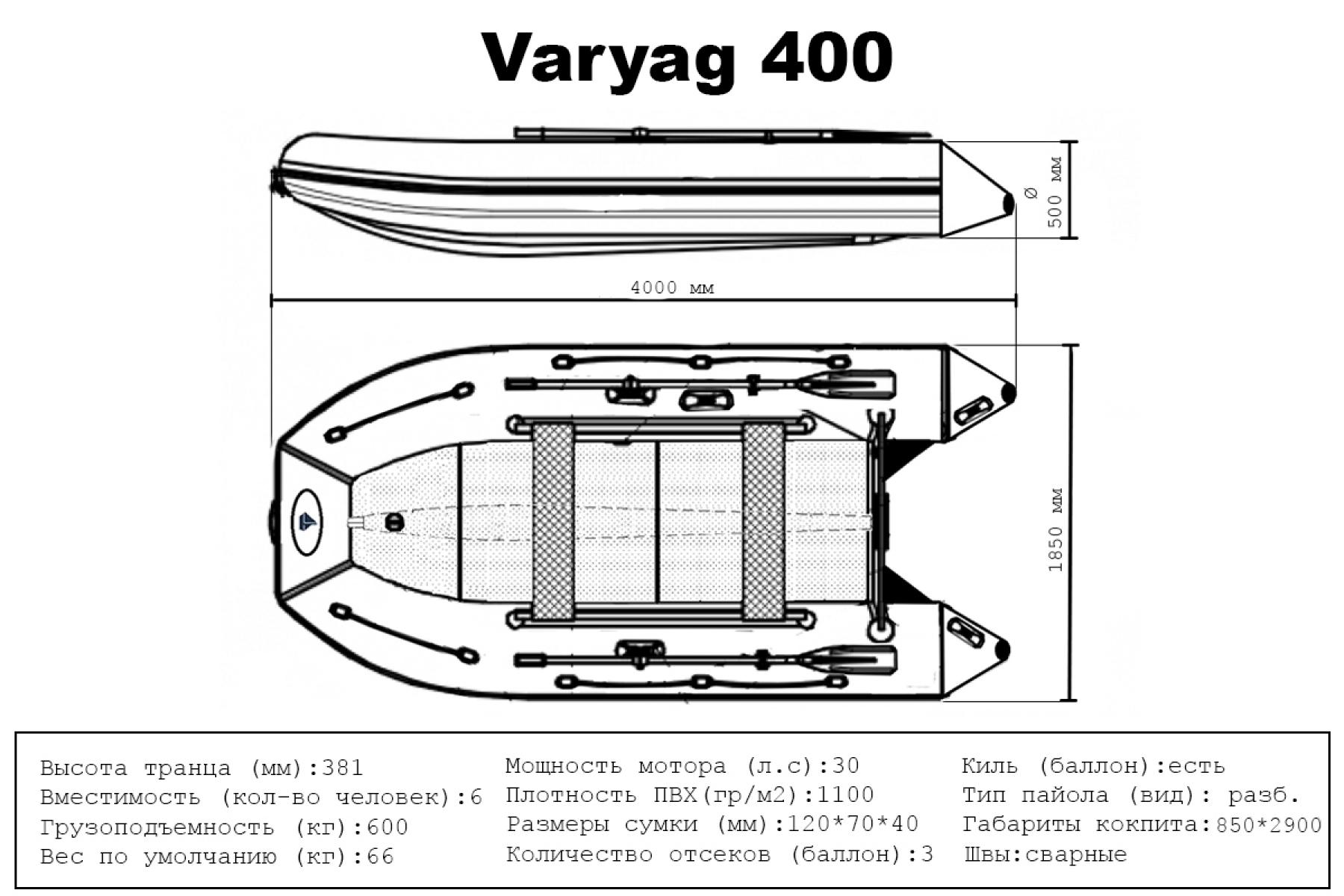 Лодка ПВХ Varyag (Варяг) 400