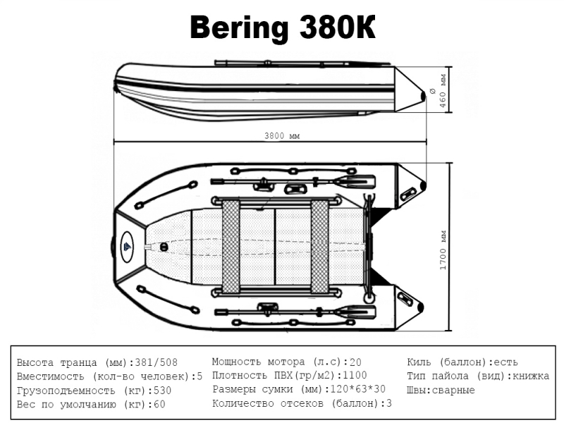 Лодка ПВХ Bering (Беринг) 380К
